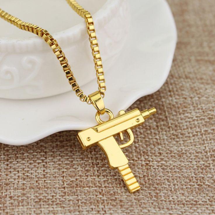 Only US$2.98, Fashion Unisex Alloy Men Women Hip-hop Necklace Pistol Rifle - Tomtop.com