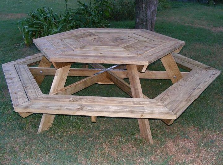 hexagonal picnic table made by Charles