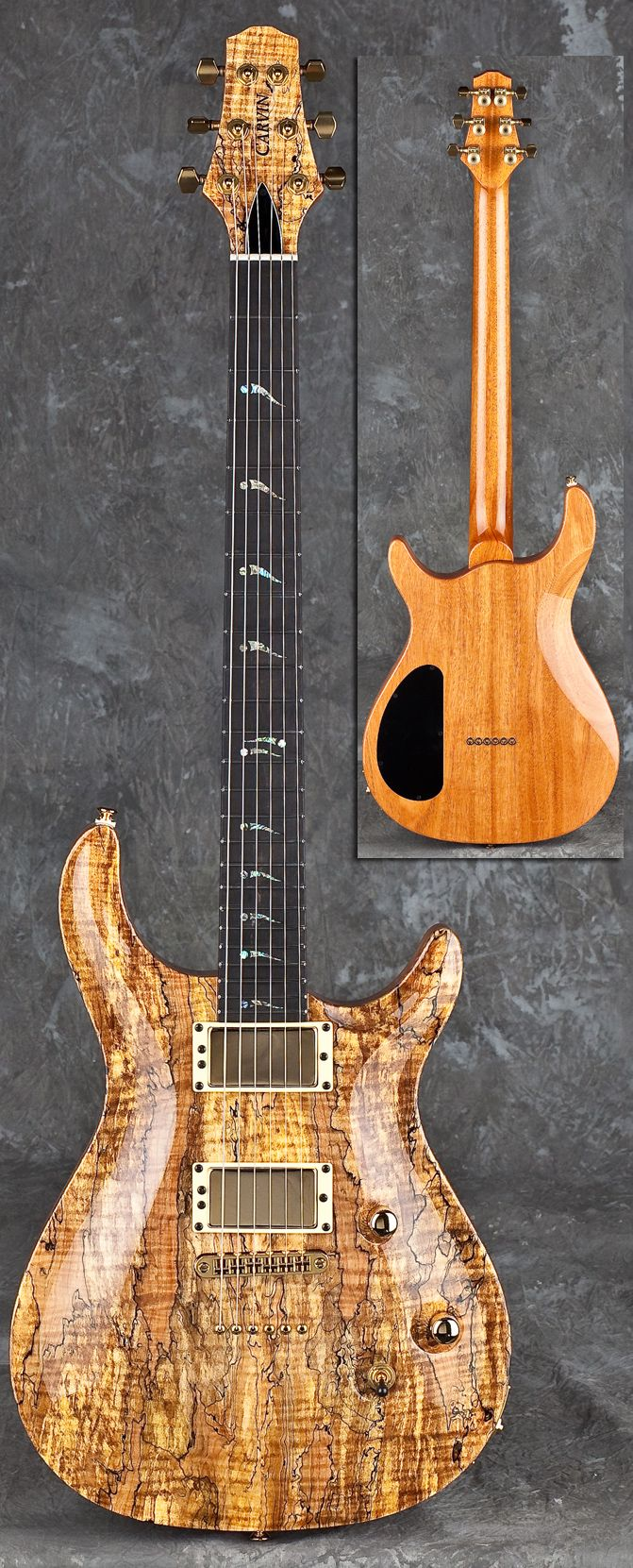 Ct m california carved top spalted maple guitar by