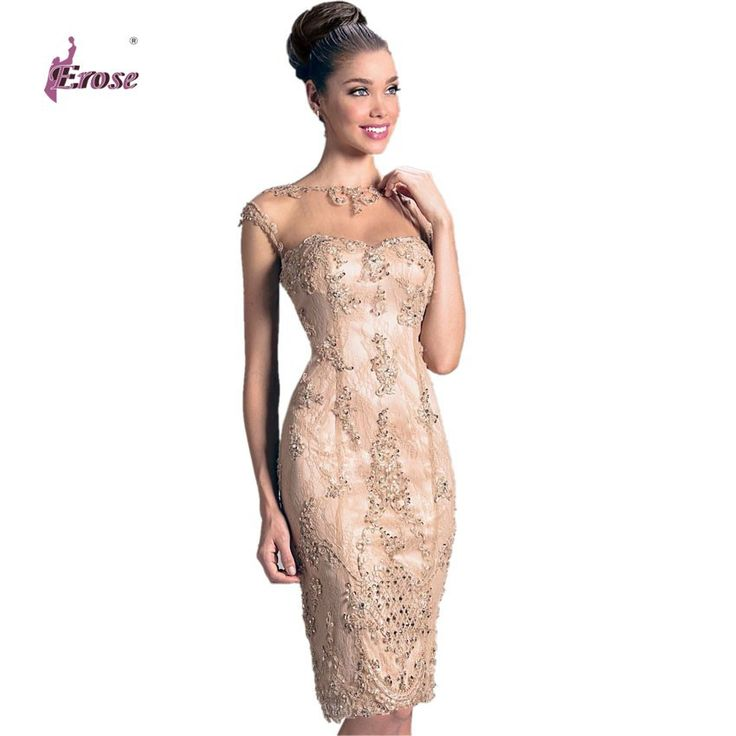 Aliexpress.com : Buy 2016 Sheath Keyhole Back Appliqued Short Cap Sleeve short Lace and Satin Evening Dress Gown Mother of the Bride Dress from Reliable dresses evening dresses suppliers on 100% Satisfaction-Suzhou Erose Wedding Dress