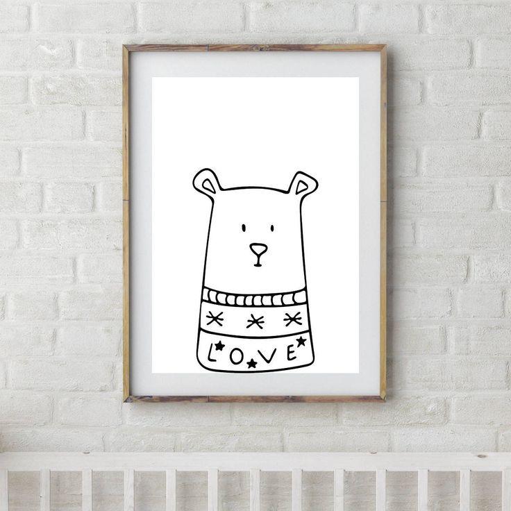 Bear Printable, Bear Art, Printable Nursery Art, Gender Neutral Nursery Art, Nursery Bear Art, Instant Printable Art Decor