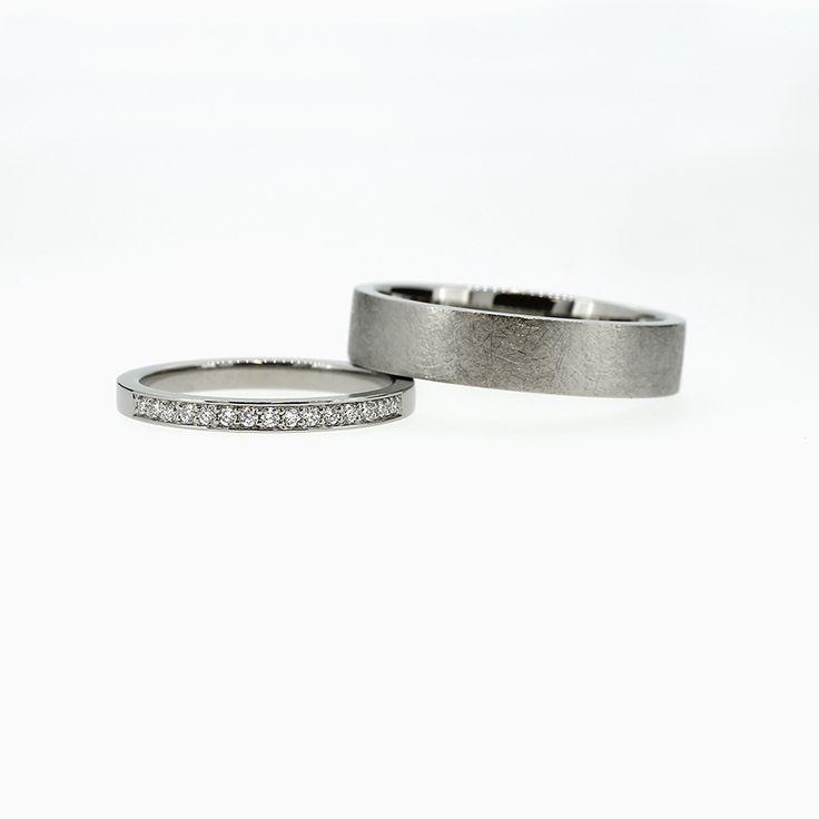 Wedding Band Set with Diamond Half Eternity Diamond Ring