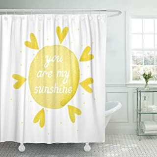 Emvency Shower Curtain You Are My Sunshine Yellow Watercolor Stain