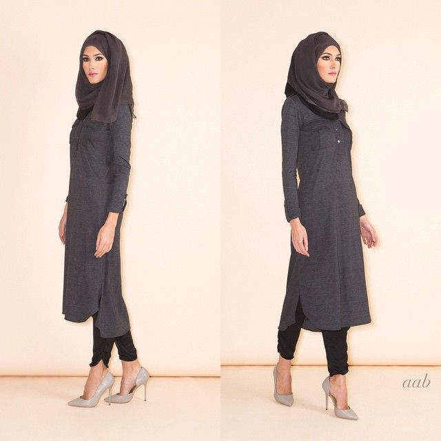 Structured Midi Code: S15MWSM Pair with Black & Charcoal Two Tone Hijab & Side Slit Trousers Shop online www.aabcollection.com |