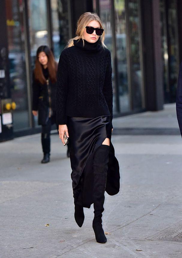 trs chic mode hivers tout noir mer opale jupes bottes cuissardes voie mode ami mode femme