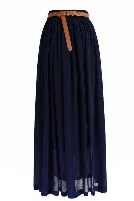 Midnight Blue Chiffon Maxi Skirt