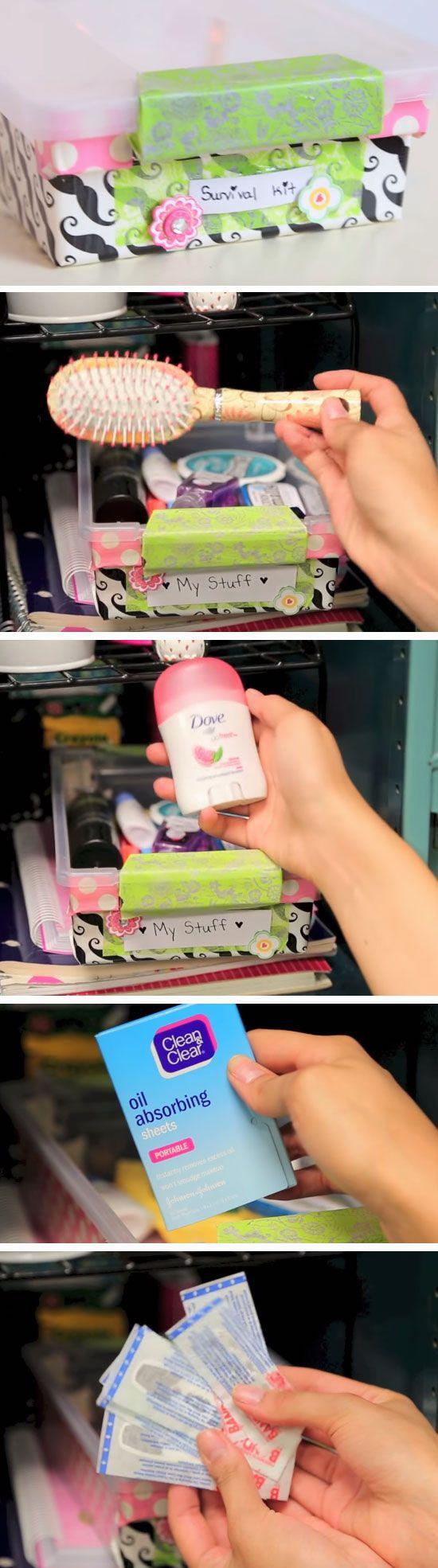 Keep a Survival Kit | 15 DIY Locker Organization for School Girls