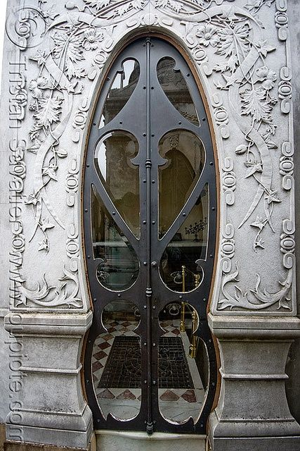 Art Nouveau Tomb Door - Recoleta Cemetery, Buenos Aires, Argentina   JV