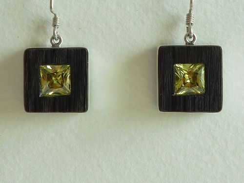 Bog wood and sterling silver earrings with cubic zirconias  Design&Handmade by K.Tokar