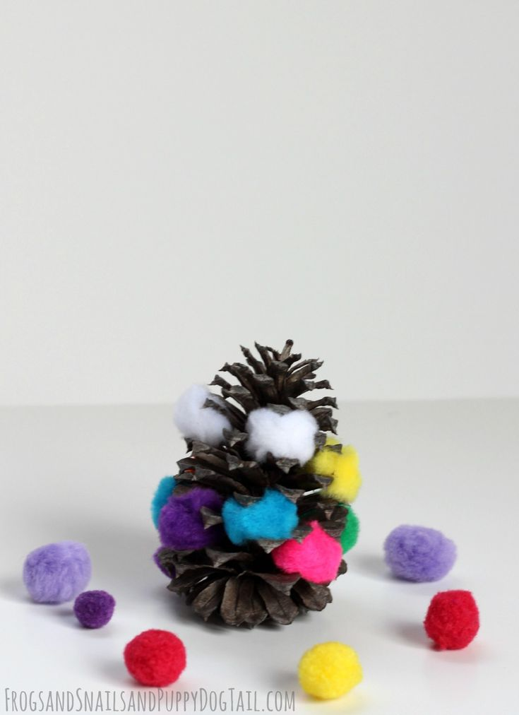 Pom pom pine cone art pine cone art and pine cone for Pine cone art projects