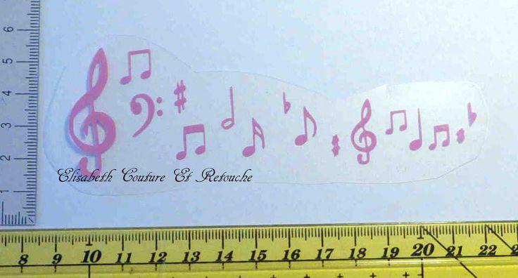 Motif en flex thermocollant : portée musicale rose : Déco, Customisation Textile par elisabeth-couture-et-retouche