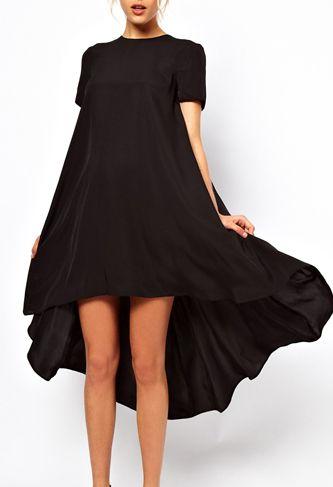 Black Short Sleeve Split High Low Dress US$36.26
