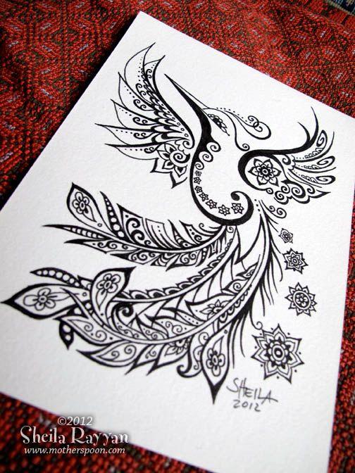 Peacock Hummingbird - original ink drawing. $50.00, via Etsy.
