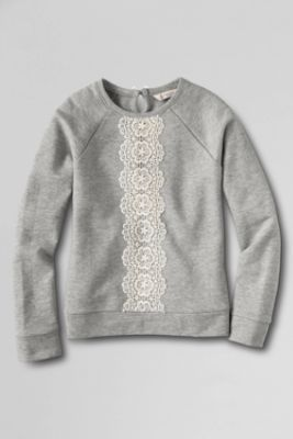 Girls' Long Sleeve French Terry Lace Sweatshirt from Lands' End My daughter loved this because it is similar to a sweatshirt I have. Will definitely be watching for this to go on sale