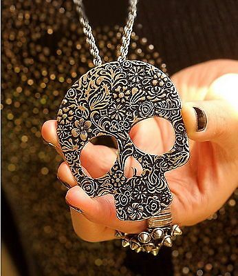 Fashion Women Silver Vintage Punk Rock Gothic Skull Pendant Long Chain Necklace | eBay