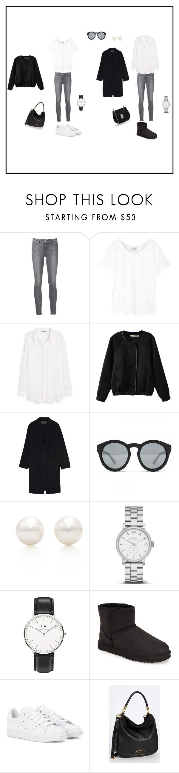 """G R E Y < 3"" by stinalinneea on Polyvore featuring Paige Denim, Frame Denim, H&M, Donna Karan, Marc Jacobs, Tiffany & Co., Marc by Marc Jacobs, Daniel Wellington, UGG Australia and adidas"