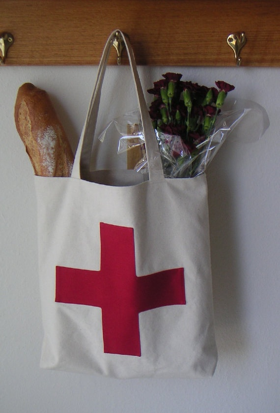 Canvas bag with red cross, tote bag