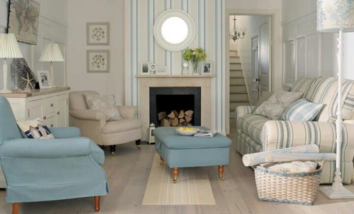 Tan, cream, and blue family room
