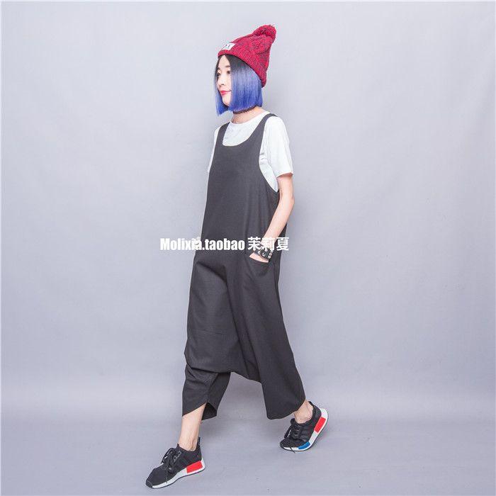 Бесплатная доставка мода классический сплошной цвет широкий Большой размер нагрудник брюки белый с коротким рукавом twinset свободного покроя брюкикупить в магазине Harajuku Trendy StoreнаAliExpress