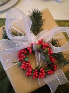 Christmas wrap bow and holly wreath