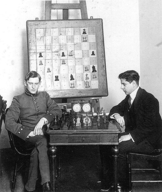 Alekhine loses the first game against Capablanca in the 1913 Scheveningen tournament.