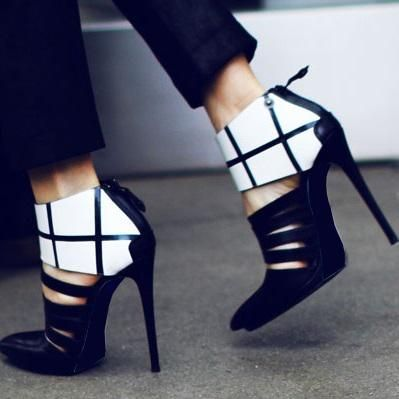 #FSJshoes - #FSJ Shoes Leila Black and White Elegant Ankle Wrapped Pointed Toe Stiletto Heel Pumps - AdoreWe.com