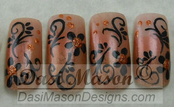 Copper Filigree Instant Acrylic Nail Set on Etsy, $10.00