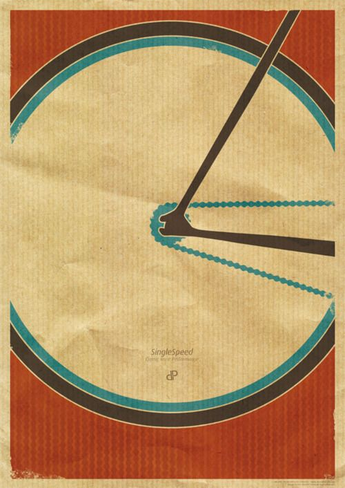 Bicycle poster design by Dirk Petzold. The popular single speed bike print for fixed gear freaks is now back in stock on dp-illustrations.com!