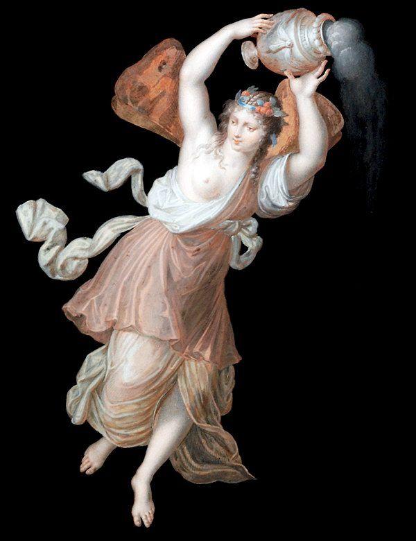 Пятый час ночи. Гуашь Микеланджело Маэстри. Первоисточник - Потолочная роспись Зала Понтифексов. Покои Борджиа, Ватикан. 1520-1521