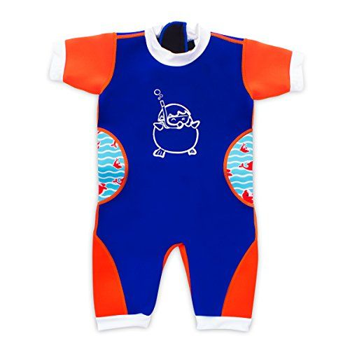 awesome Cheekaaboo Baby & Toddler Thermal Warmiebabes Swimsuit  Neoprene Swimwear with Rash Guard and Sun Protection - Neon Orange/Navy Blue (18-30Months)