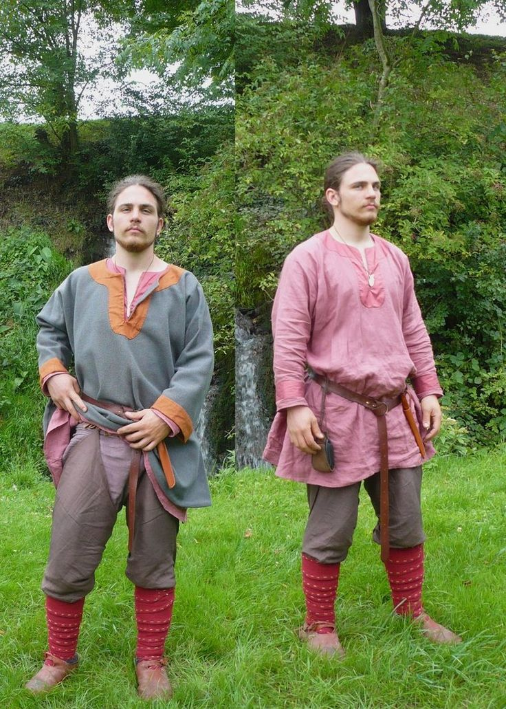 11th century Norman male costume. I really like the red on the calves.