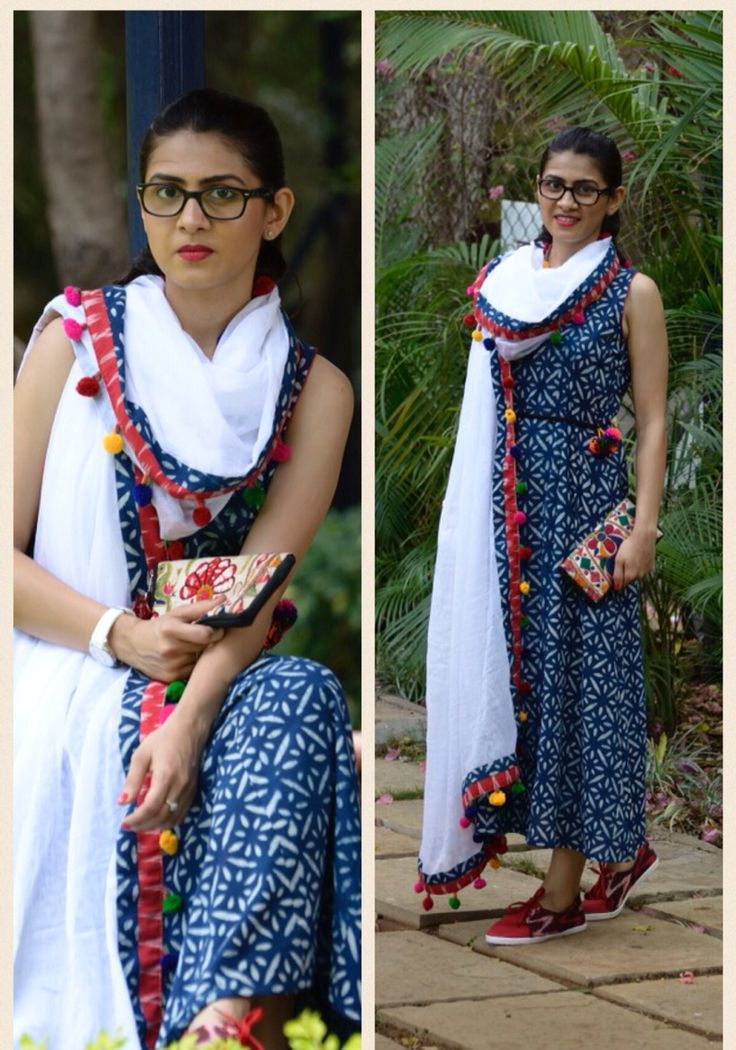 Indigo long kurta with a mul white dupatta- absolute contemporary!!