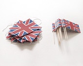 Red and Blue Union Jack Cake toppers / Food / Sandcastle / Cupcake Toppers british jubilee olympics custom made to order