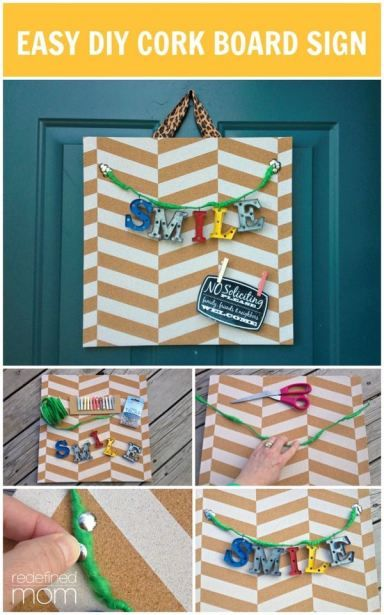 This Easy DIY Chevron Cork Board Sign not only brings a smile to someone's face, but it is a functional cork board perfect for kitchen or bedroom. Super easy. Very inexpensive and a great summer craft project.