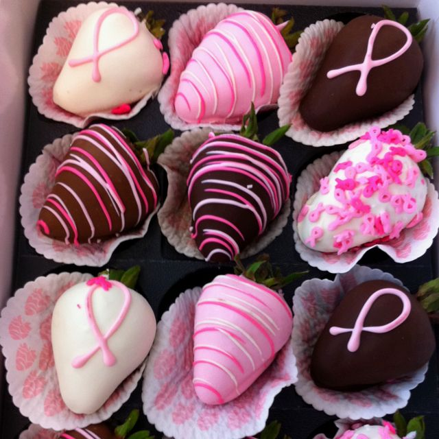 Breast Cancer awareness decorated chocolate covered strawberries from Shari's Berries!
