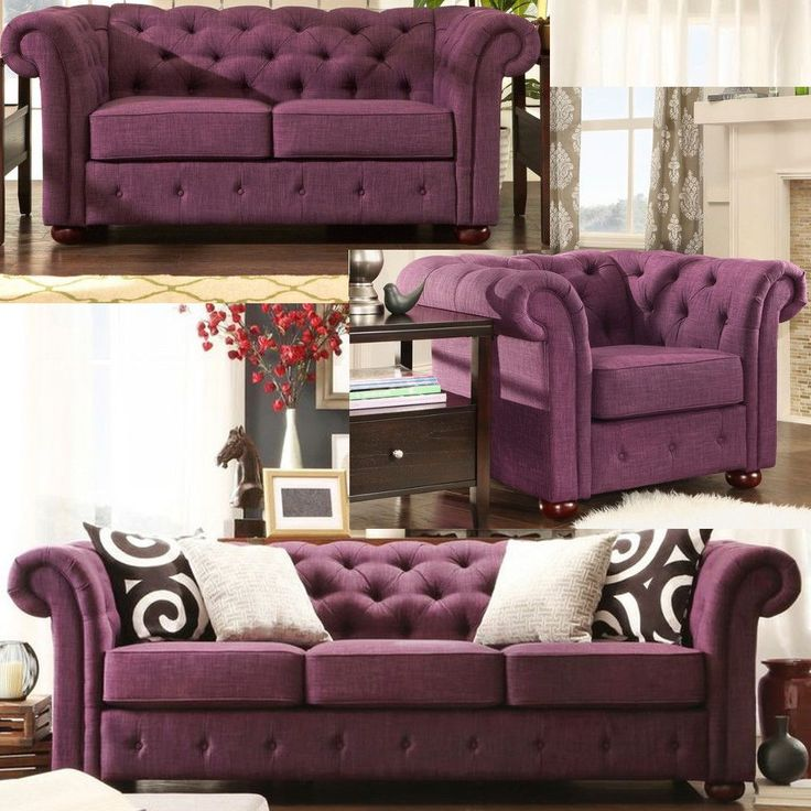 Chesterfield Living Room Set Linen Tufted Tuxedo Sofa Couch Loveseat Arm Chair