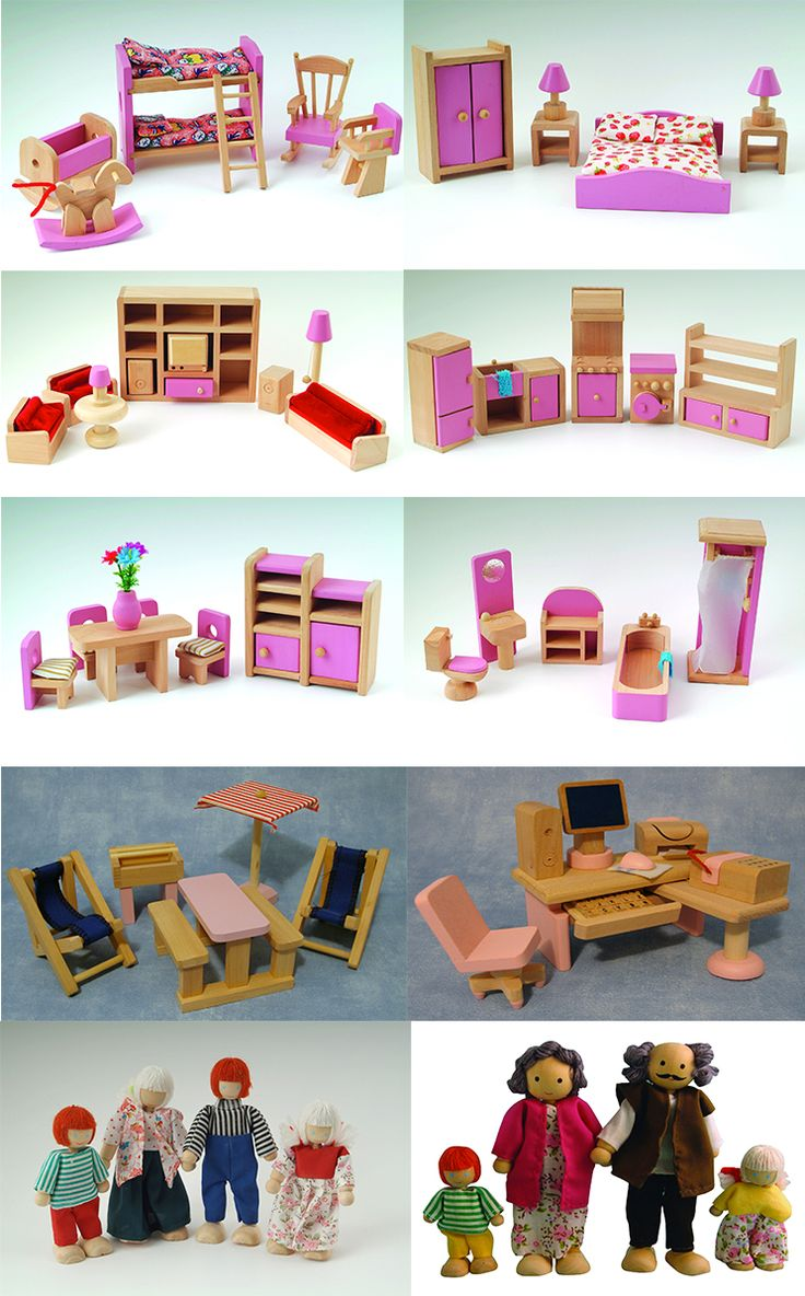 I found this listing on Ebay.co.uk, good for DIY ideas -- DOLLS HOUSE FURNITURE PINK WOODEN SET PEOPLE DOLLS C.E. APPROVED TOY FAMILY.