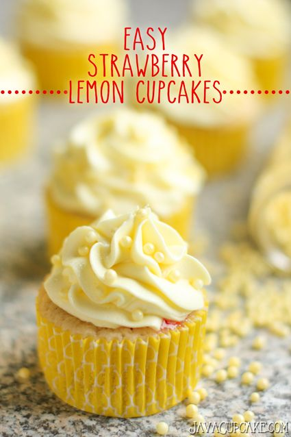 Tart and sweet, these strawberry lemon cupcakes are an Easy Spring treat!   JavaCupcake.com