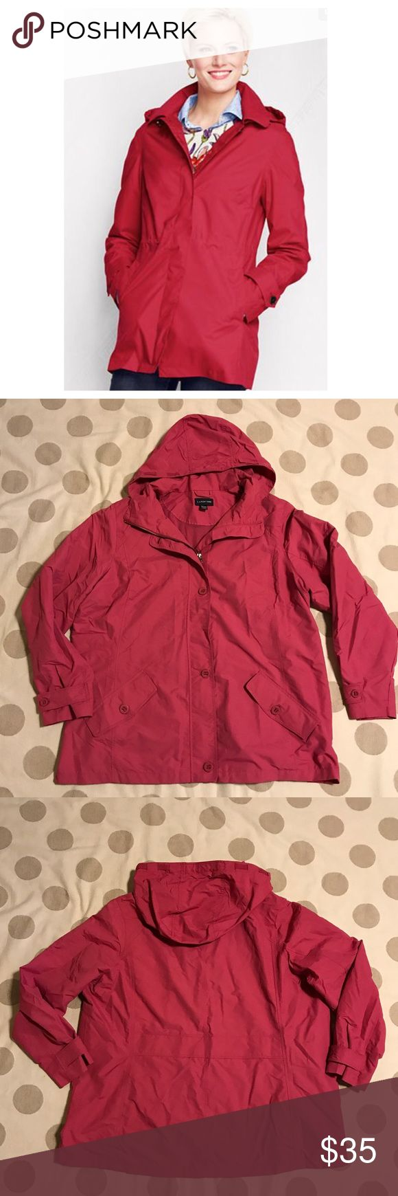Lands' End pink Storm Raker rain jacket You're looking at a gently loved Lands' End women's rain jacket in size 2x or 22-24. Similar to the cover pic. This one is a pretty pink. It zips up and also has button details and buttoned pockets. Hood is removable. 💙offers 💙20% off discount on bundles Lands' End Jackets & Coats