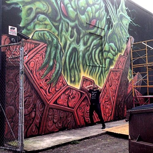 The Art of Skinner | Artwork | Cthulhu Mural at Sizzle Pie!