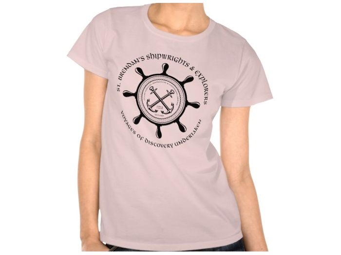 Saint Brendan's Shipwrights, Style is Women's Hanes ComfortSoft T-Shirt, color is pale pink