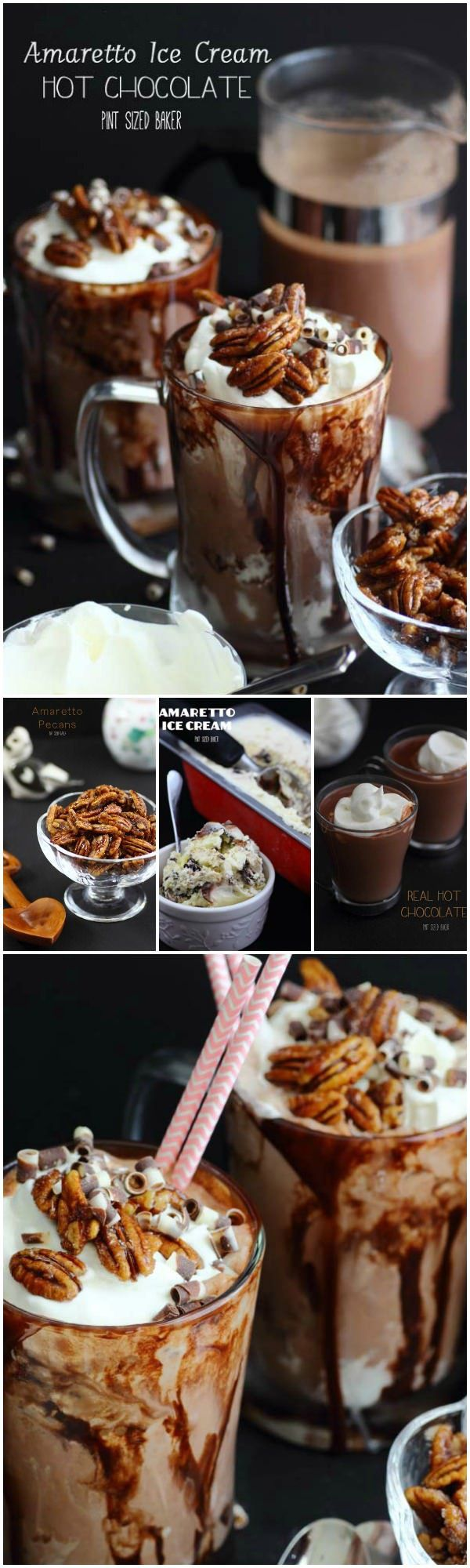 These Amaretto Hot Chocolate Floats are perfect for any night. Made with real Amaretto ice cream and real Hot Chocolate, it's a decadent dessert.