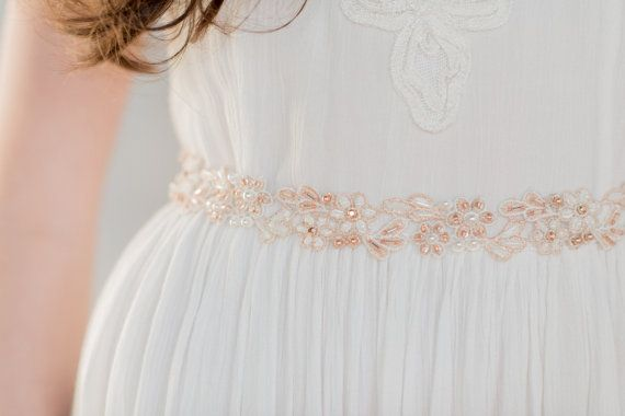 The LOREENA Rose Gold Beaded Sash is from our new 2016 Collection  Simple and beautiful, we love the details of this lace dress sash.