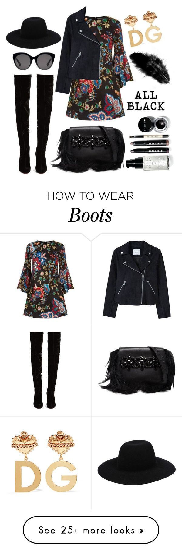 """Black Boots"" by mayashireenjoe on Polyvore featuring Christian Louboutin, Alice + Olivia, Off-White, MANGO, GEDEBE, Gucci, Dolce&Gabbana and Bobbi Brown Cosmetics"