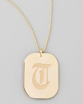 Rounded Rectangle Initial Pendant Necklace by Zoe Chicco at Neiman Marcus.