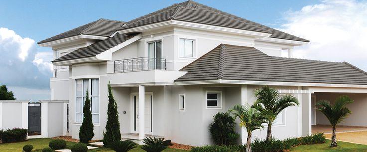 Resultado de imagem para casa com telhado cinza grafite tegula