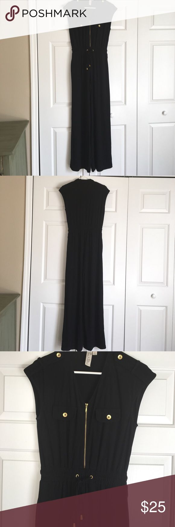 Black jump suit Black long jump suit. With gold zipper and buttons. emma & michele Other