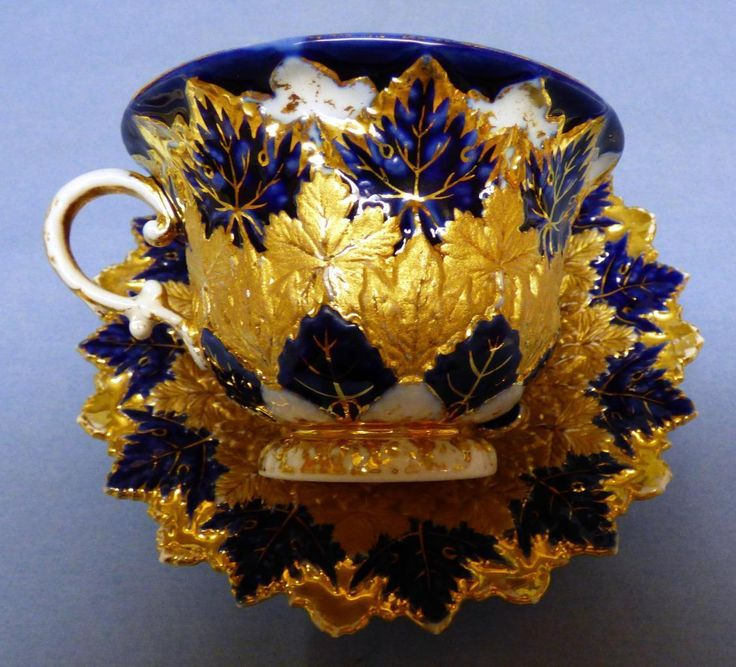 Antique Meissen Absolutely Gorgeous RARE Cobalt Heavy Gold Cup Saucer Germany   eBay