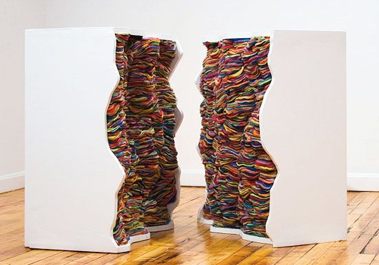 Andrea Myers, fibers sculptures: Andrea Myers, Latex Paintings, Art Inspiration, 3D Sculpture, Colors Art, Socks, Layered Fabrics, Artists Andrea, Andrea Meyer