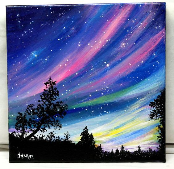 RESERVED Northern Lights original acrylic by ThisArtToBeYours: